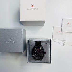 Michele Women's Hybrid Black Alligator Smartwatch